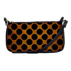Circles2 Black Marble & Yellow Grunge Shoulder Clutch Bags