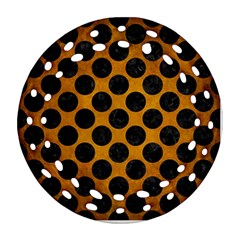 Circles2 Black Marble & Yellow Grunge Ornament (round Filigree)