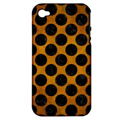 Circles2 Black Marble & Yellow Grunge Apple Iphone 4/4s Hardshell Case (pc+silicone)