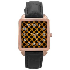 Circles2 Black Marble & Yellow Grunge Rose Gold Leather Watch