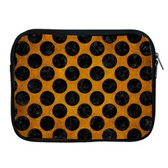 Circles2 Black Marble & Yellow Grunge Apple Ipad 2/3/4 Zipper Cases