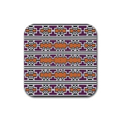 Purple And Brown Shapes                                  Rubber Square Coaster (4 Pack