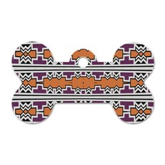 Purple And Brown Shapes                                  Dog Tag Bone (one Side)