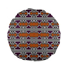Purple And Brown Shapes                            Standard 15  Premium Flano Round Cushion