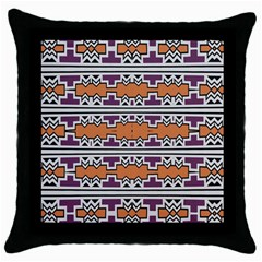Purple And Brown Shapes                                  Throw Pillow Case (black)