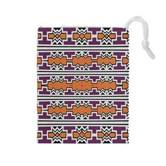 Purple And Brown Shapes                                  Drawstring Pouch