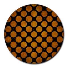 Circles2 Black Marble & Yellow Grunge (r) Round Mousepads