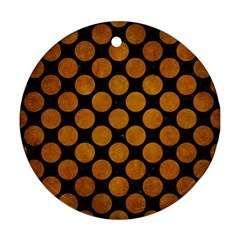 Circles2 Black Marble & Yellow Grunge (r) Ornament (round)