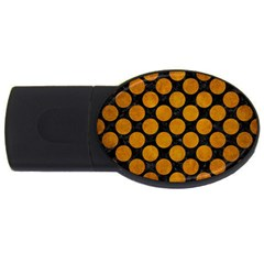 Circles2 Black Marble & Yellow Grunge (r) Usb Flash Drive Oval (4 Gb)