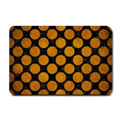 Circles2 Black Marble & Yellow Grunge (r) Small Doormat