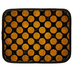 Circles2 Black Marble & Yellow Grunge (r) Netbook Case (large)