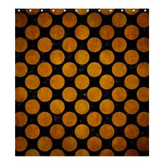 Circles2 Black Marble & Yellow Grunge (r) Shower Curtain 66  X 72  (large)