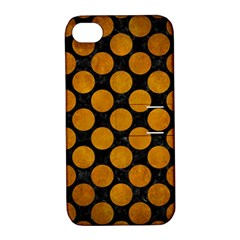 Circles2 Black Marble & Yellow Grunge (r) Apple Iphone 4/4s Hardshell Case With Stand