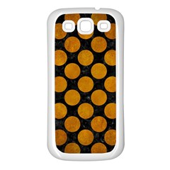 Circles2 Black Marble & Yellow Grunge (r) Samsung Galaxy S3 Back Case (white)