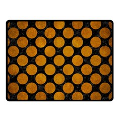 Circles2 Black Marble & Yellow Grunge (r) Double Sided Fleece Blanket (small)