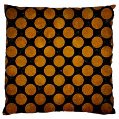 Circles2 Black Marble & Yellow Grunge (r) Large Flano Cushion Case (two Sides)