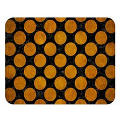 Circles2 Black Marble & Yellow Grunge (r) Double Sided Flano Blanket (large)
