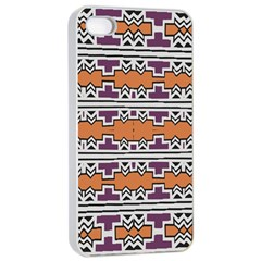 Purple And Brown Shapes                            Apple Iphone 4/4s Seamless Case (white)