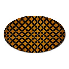Circles3 Black Marble & Yellow Grunge Oval Magnet