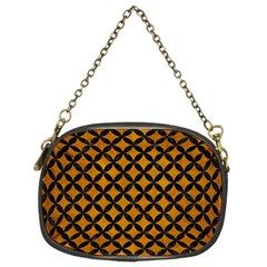 Circles3 Black Marble & Yellow Grunge Chain Purses (two Sides)
