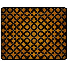Circles3 Black Marble & Yellow Grunge Fleece Blanket (medium)