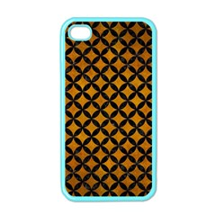 Circles3 Black Marble & Yellow Grunge Apple Iphone 4 Case (color)