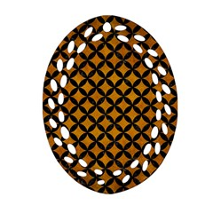 Circles3 Black Marble & Yellow Grunge Oval Filigree Ornament (two Sides)