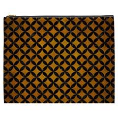 Circles3 Black Marble & Yellow Grunge Cosmetic Bag (xxxl)