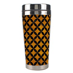 Circles3 Black Marble & Yellow Grunge Stainless Steel Travel Tumblers