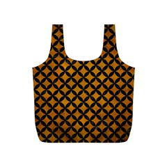 Circles3 Black Marble & Yellow Grunge Full Print Recycle Bags (s)
