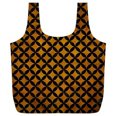 Circles3 Black Marble & Yellow Grunge Full Print Recycle Bags (l)
