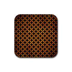 Circles3 Black Marble & Yellow Grunge (r) Rubber Square Coaster (4 Pack)