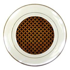 Circles3 Black Marble & Yellow Grunge (r) Porcelain Plates