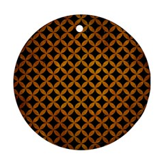 Circles3 Black Marble & Yellow Grunge (r) Round Ornament (two Sides)