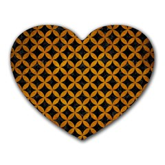 Circles3 Black Marble & Yellow Grunge (r) Heart Mousepads