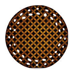 Circles3 Black Marble & Yellow Grunge (r) Round Filigree Ornament (two Sides)