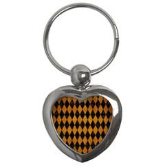 Diamond1 Black Marble & Yellow Grunge Key Chains (heart)