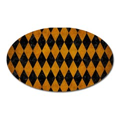 Diamond1 Black Marble & Yellow Grunge Oval Magnet