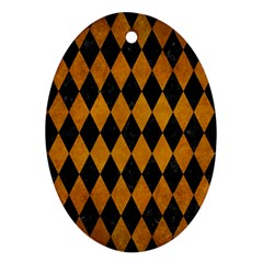 Diamond1 Black Marble & Yellow Grunge Oval Ornament (two Sides)