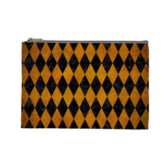 Diamond1 Black Marble & Yellow Grunge Cosmetic Bag (large)