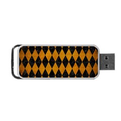 Diamond1 Black Marble & Yellow Grunge Portable Usb Flash (one Side)