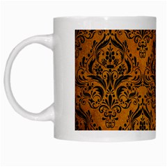 Damask1 Black Marble & Yellow Grunge White Mugs