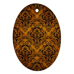 Damask1 Black Marble & Yellow Grunge Oval Ornament (two Sides)
