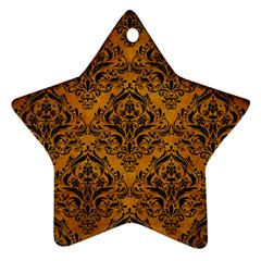 Damask1 Black Marble & Yellow Grunge Star Ornament (two Sides)