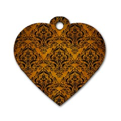 Damask1 Black Marble & Yellow Grunge Dog Tag Heart (two Sides)