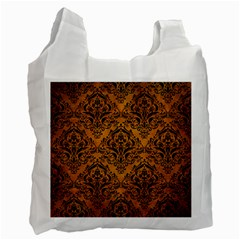 Damask1 Black Marble & Yellow Grunge Recycle Bag (two Side)