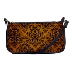Damask1 Black Marble & Yellow Grunge Shoulder Clutch Bags