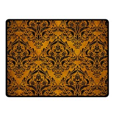 Damask1 Black Marble & Yellow Grunge Fleece Blanket (small)