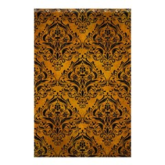 Damask1 Black Marble & Yellow Grunge Shower Curtain 48  X 72  (small)