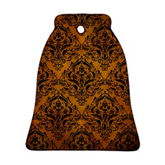 Damask1 Black Marble & Yellow Grunge Bell Ornament (two Sides)
